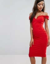 Rare London Bardot Cord Strap Midi Dress