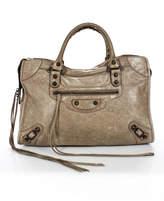 Balenciaga Beige Leather Zip Up City Moto Satchel Bag With Mirror Medium