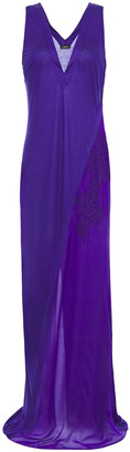 La Perla Lace-trimmed Voile-paneled Slub Jersey Maxi Dress