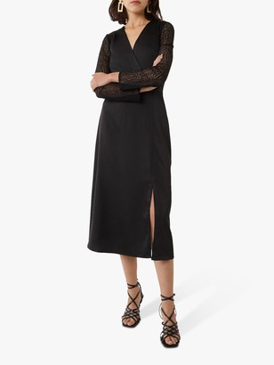 Warehouse Lace Midi Dress, Black