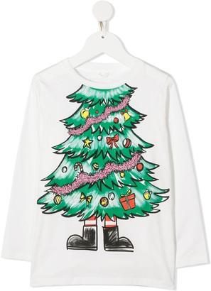 Stella Mccartney Kids Christmas Tree print T-shirt