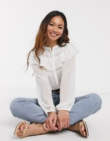 Pieces shirt with ruffle detail in white sheer polka dot