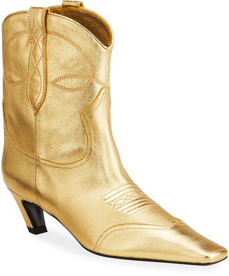 KHAITE Dallas Metallic Western Booties