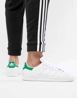 adidas Stan Smith leather sneakers in white and green