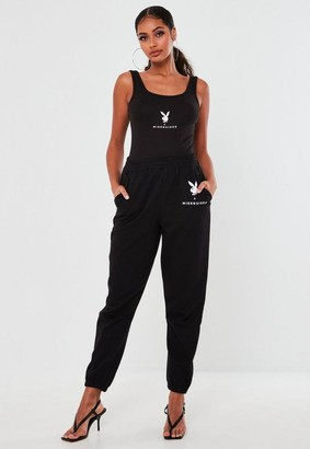 Missguided Playboy X Black Oversized Joggers
