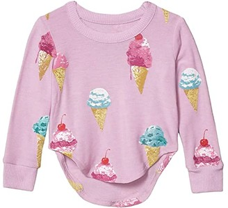 Chaser Yummy Cones Cozy Knit Hi Lo Shirttail Pullover (Toddler/Little Kids) (Pillow) Girl's Clothing