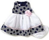 Bonnie Jean Bonnie Baby Girls Newborn-24 Months Dotted & Striped Jacquard Dress
