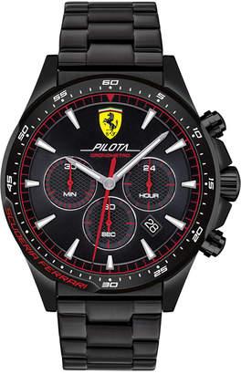 Ferrari Men Chronograph Pilota Black Pvd Stainless Steel Bracelet Watch 45mm