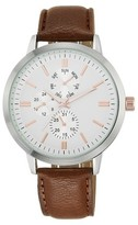 Mossimo Men's Analog Strap Watch - Silver/Brown