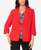 Tahari ASL Plus Size Peak-Collar Roll-Tab Blazer
