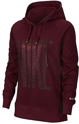 Nike Dry Get Fit Fleece Pullover PP1 Sparkle (Dark Beetroot/White) Women's Clothing