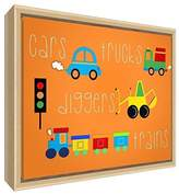 Feel Good Art Eco-Printed & Framed Nursery Canvas with solid Natural Wooden Frame Cars, Trucks, Diggers, Trains White, 34 x 24 x 3cm (Small)