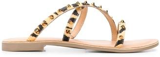 Kurt Geiger Studded Leopard Print Sandals