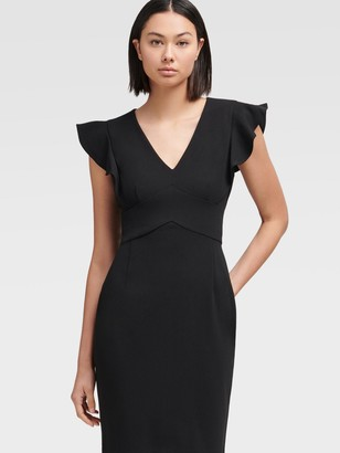 DKNY Women's Sheath Dress With Ruffle Sleeve - Black - Size 0