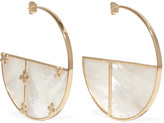 Aurelie Bidermann Bianca medium gold-plated mother-of-pearl hoop earrings