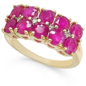 Macy's Certified Ruby (3-1/3 ct. t.w.) & Diamond (1/20 ct. t.w.)Two-Row Statement Ring in 14k Gold