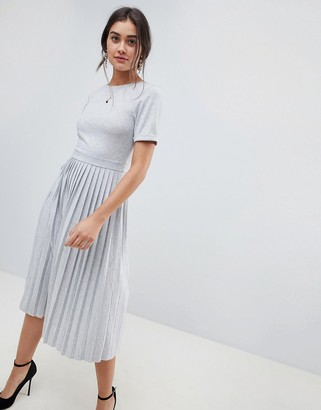 Asos Design DESIGN pleated skirt midi dress-Gray