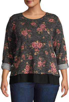 Style&Co. Style & Co. Plus Floral Long-Sleeve Top
