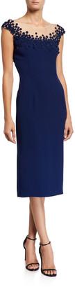 Jenny Packham Rosette-Embroidered Tulle Illusion Dress