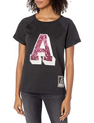 Armani Exchange A|X Women's Short Sleeved Relaxed Fit Shirt with Sequins A Graphic