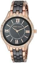 Anne Klein Women's Swarovski Crystal Accented Rose Gold-Tone and Black Ceramic Bracelet Watch