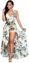 EkarLam® EkarLam Womens Sexy Halter Deep V Neck Floral Chiffon Jumpsuit Romper Pant Dress L