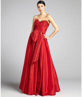 Notte by Marchesa scarlet pleated taffeta embellished bow strapless gown