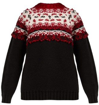 Moncler Knitted Wool Sweater - Womens - Black Multi
