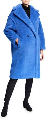 Max Mara Alpaca-Silk Teddy Knit Coat, Blue