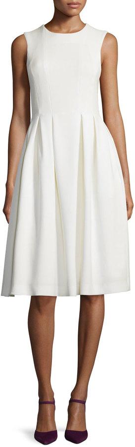ADAM by Adam Lippes Sleeveless Fit-&-Flare Wool Crepe Dress, Ivory