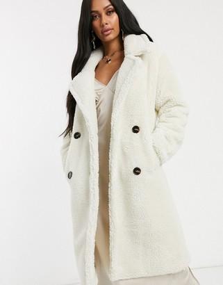 NA-KD midi teddy coat in off white