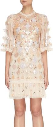 Needle & Thread Rose diamond multi-tonal sequins mini dress