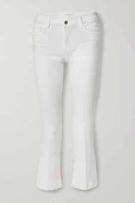 J Brand Selena Frayed Mid-rise Bootcut Jeans - White