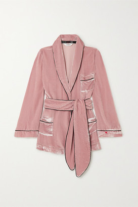 SLEEPING WITH JACQUES The Bon Vivant Belted Piped Velvet Robe - Blush