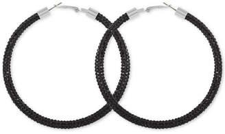 """GUESS Large Pave Hoop Earrings 3"""""""