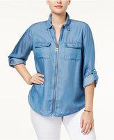 MICHAEL Michael Kors Size Zip-Front Chambray Shirt