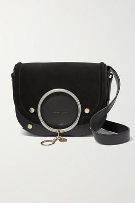 See by Chloe Mara Embellished Suede And Leather Shoulder Bag - Black