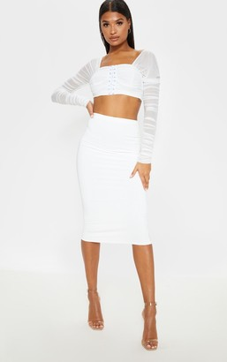 Ambredes Aidy White Slinky Long Line Midi Skirt