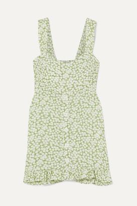 Faithfull The Brand Lou Lou Ruffled Floral-print Crepe Mini Dress - Light green