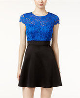 Teeze Me Juniors' Scuba Lace Fit & Flare Dress