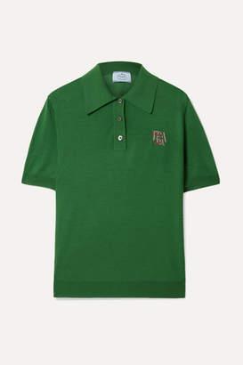 Prada Intarsia Wool Polo Shirt - Dark green