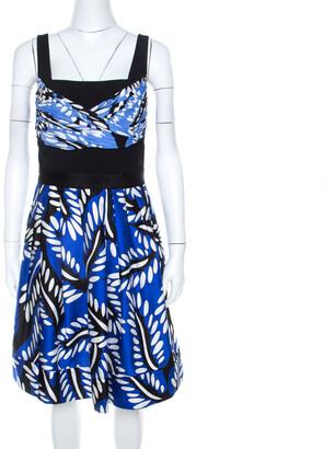 Diane von Furstenberg Blue Printed Cotton Silk Blend Sita Dress L