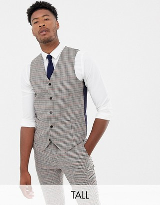 Gianni Feraud Tall slim fit heritage check wool blend suit vest