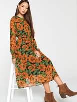 Very Shirred Waist Midi Dress - Print
