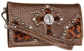 M&F Western - Animal Print Cross Wallet (Brown) - Bags and Luggage