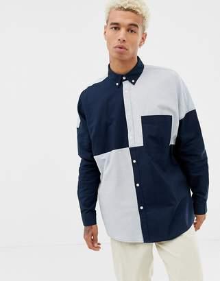 Asos DESIGN oversized oxford shirt in cut & sew