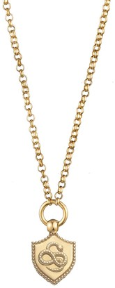 Foundrae Mini Wholeness Coin Edge Crest on Small Belcher Necklace - Yellow Gold