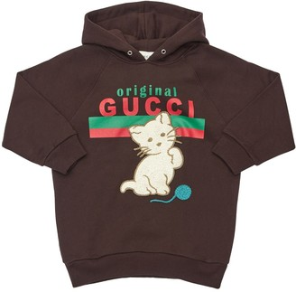 Gucci Cotton Sweatshirt Hoodie W/ Cat Patch