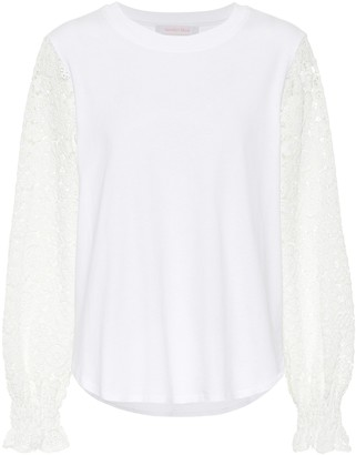 See by Chloe Lace-trimmed cotton-jersey top