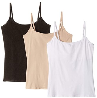 Pact Everyday Camisole w/ Shelf Bra 3-Pack (White/Champagne/Charcoal Heather) Women's Underwear